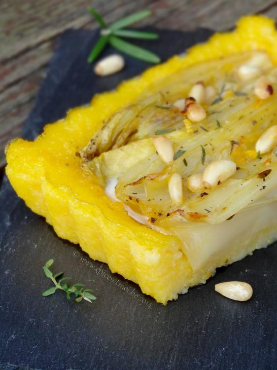 Tarte de polenta aux endives brais es l 39 orange et au - Comment cuire la polenta ...