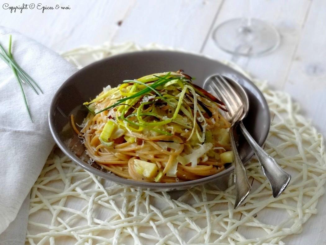 Epices & moi Spaghetti échalotes poireaux 1