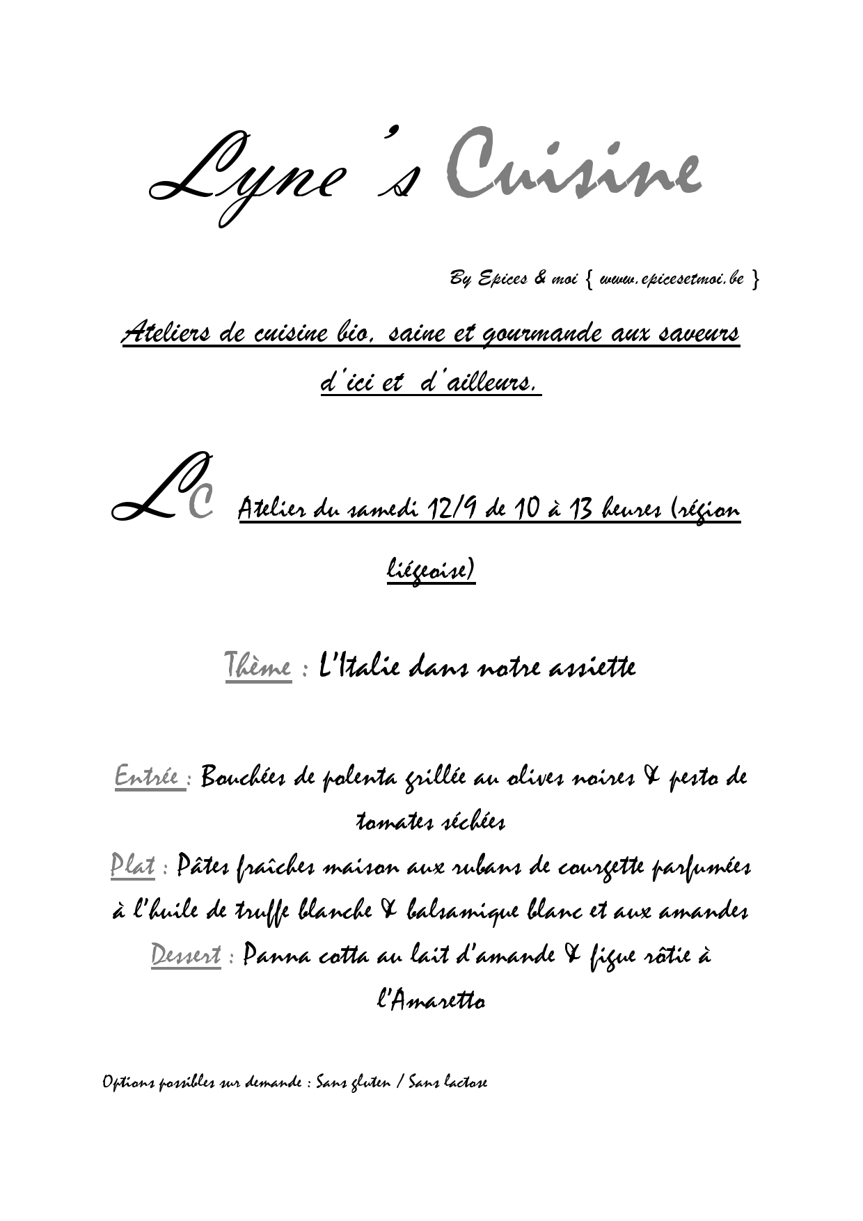 Lyne'Cuisine Atelier Italie Septembre