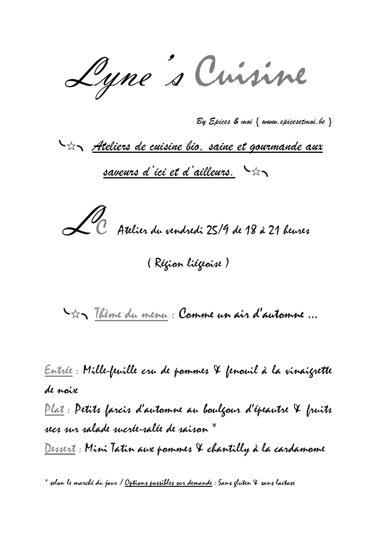 Lyne's Cuisine Atelier Automne Septembre
