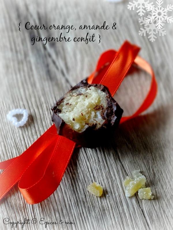 Truffes de Noël au chocolat cru vegan { Amande, orange et gingembre confit