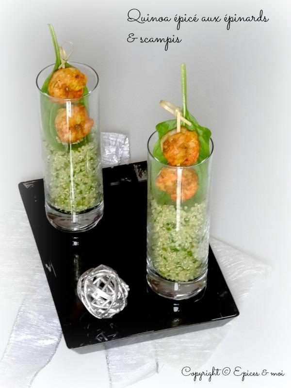 Verrine de quinoa épicé aux pousses d'épinards et scampis