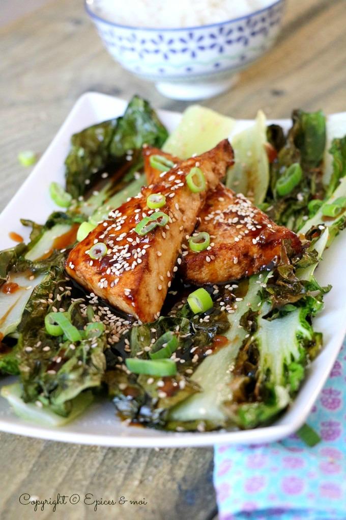 Epices & mi - Tofu croustillant teriyaki & pak choi