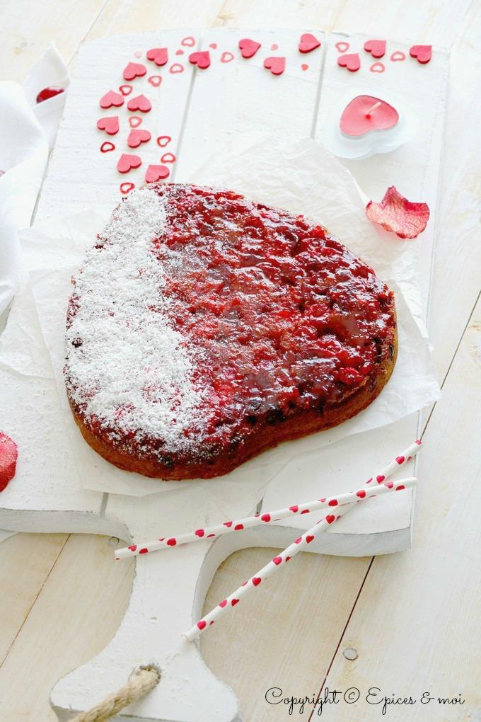 Epices & moi - Coeur renversé aux cranberries, orange et coco