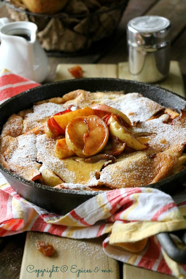 Epices & moi - Dutch Baby Pancake aux pommes caramélisées