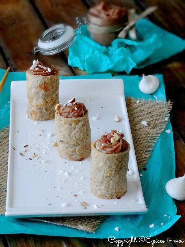 Makis de crêpes à la crème de marrons, meringue et aux noisettes