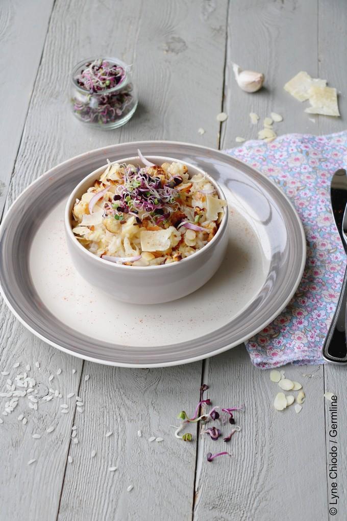 Epices & moi - Risotto au chou-fleur rôti, amandes et paprika