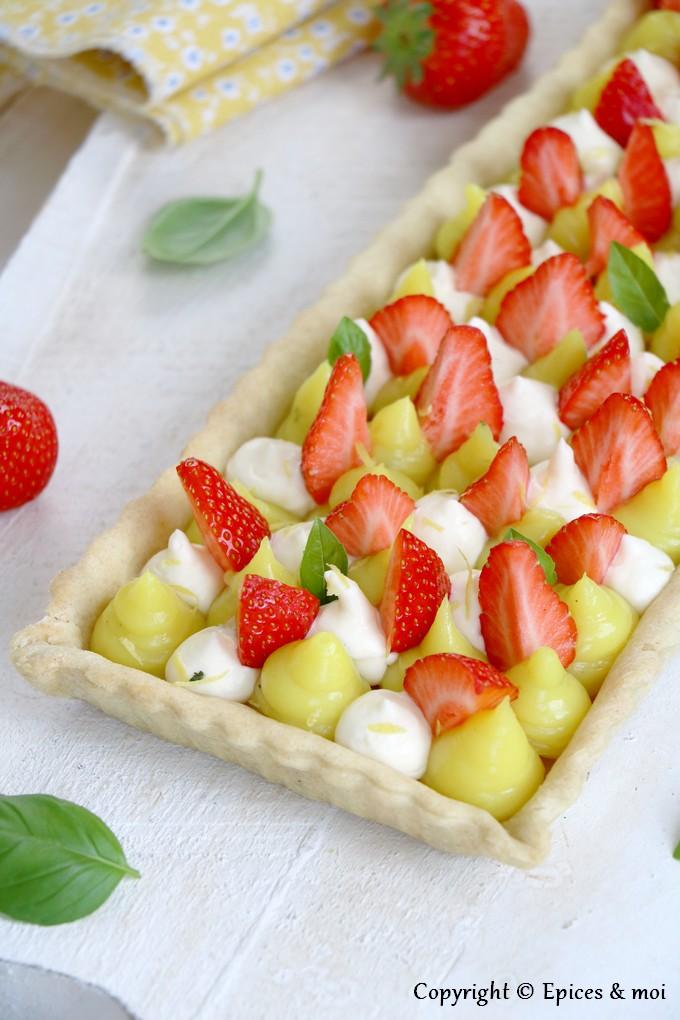 Epices & moi - Tarte fraises citron basilic