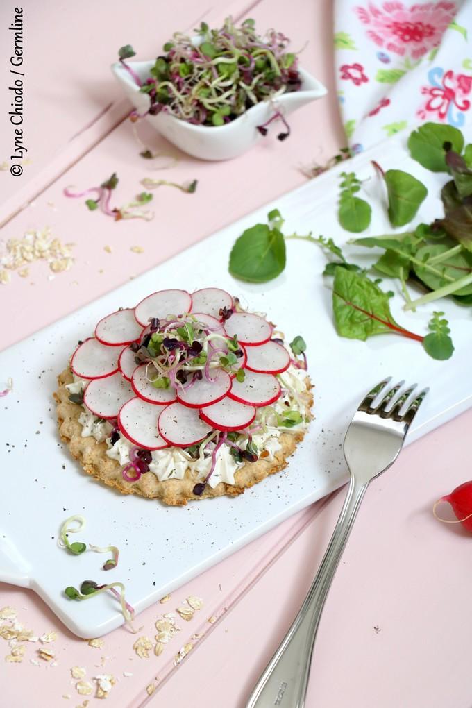 Epices & moi - Tartelettes de flocons d'avoine germée au fromage frais et radis germés