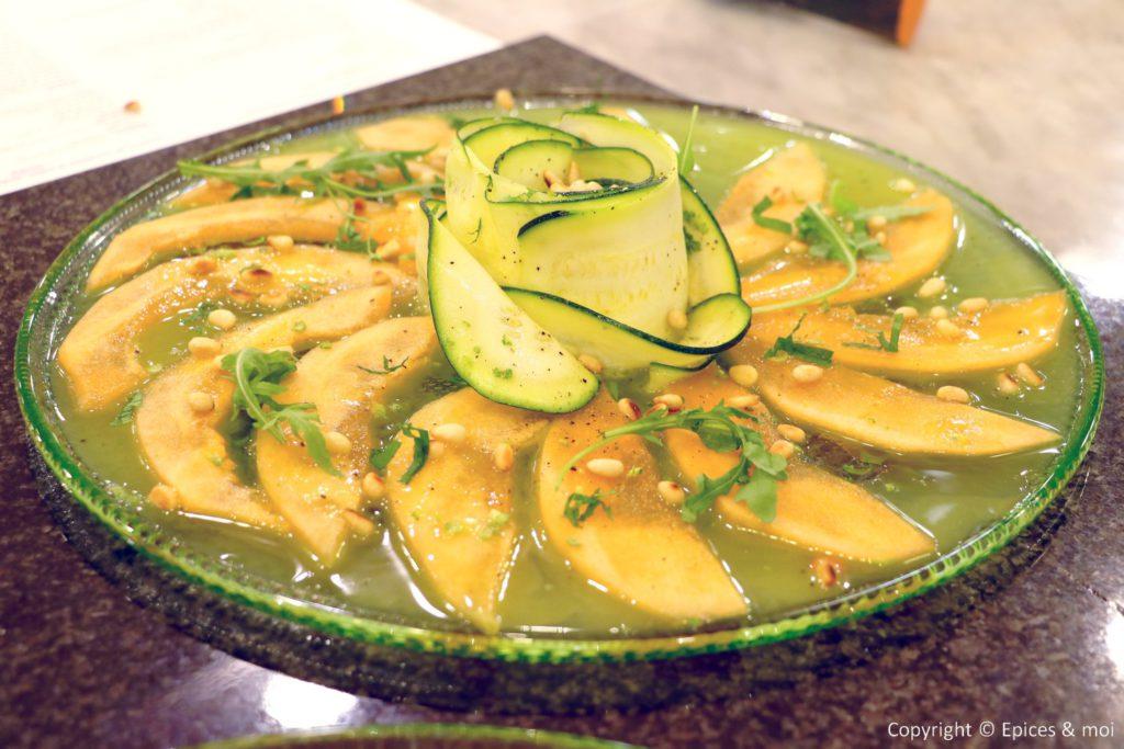 Epices & moi - Carpaccio de courgettes et melon à la vinaigrette citron vert menthe