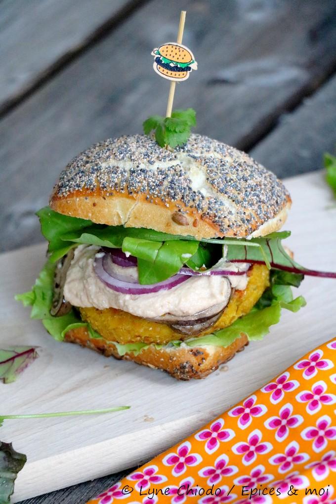 Burger veggie d'automne / Lentilles potiron et champignons