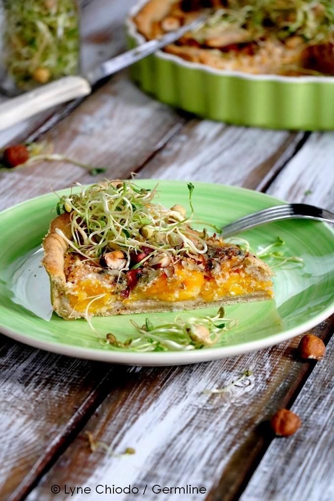 Epices & moi - Tarte d'automne butternut, fourme d'Ambert, noisettes ... & Mix protéines germées