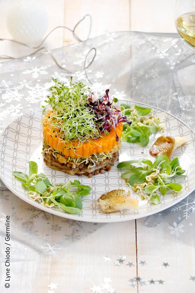 Epices & moi - Parmentier à la patate douce, champignons aux truffes et mix de graines germées