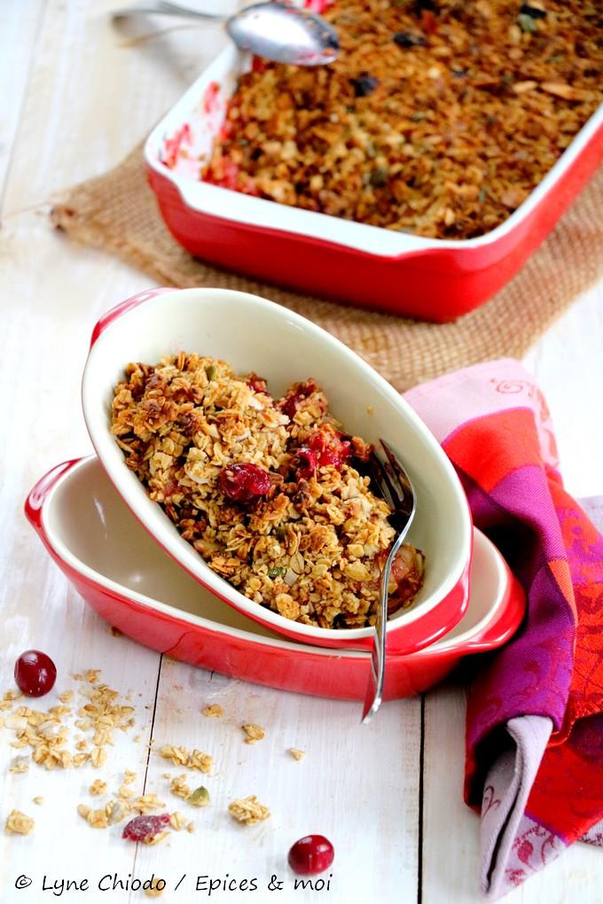 Epices & moi - Crumble de cranberries, pommes & granola