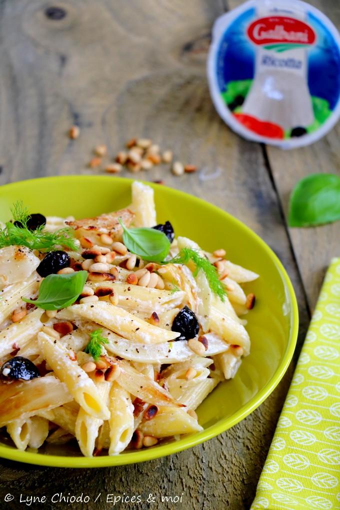 Epices & moi - Penne au fenouil, ricotta et olives noires