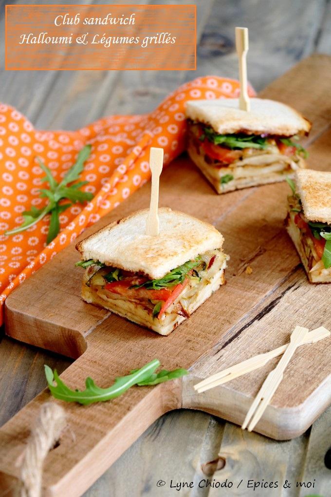 Epices & moi - Club sandwich aux Halloumi et légumes grillés