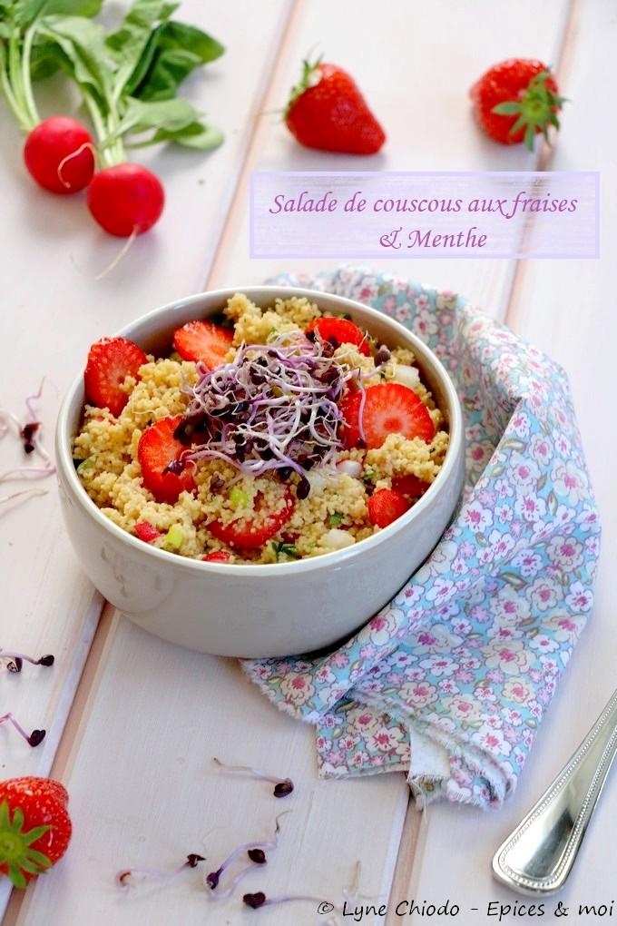 Epices & moi - Salade de couscous aux fraises et à la menthe #sans gluten