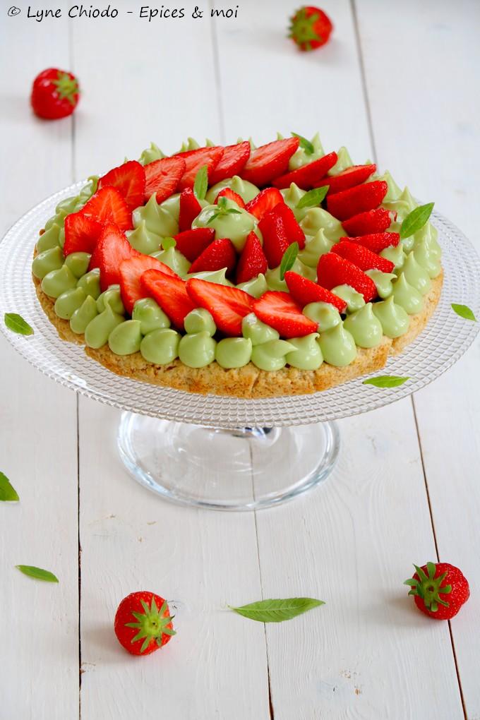 Epices & moi - Tarte aux fraises, crème à l'avocat et verveine