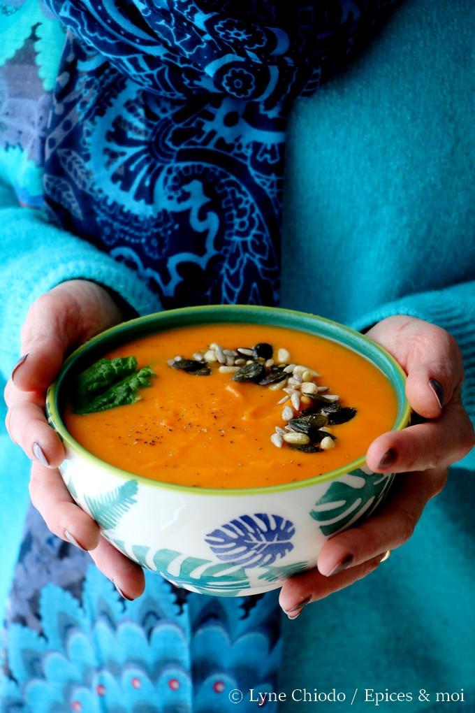 Epices & moi - Soupe aux patates douces, carottes & clémentines